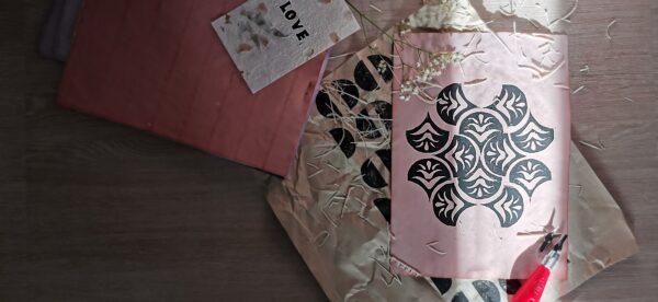 Lino Printing, Block Printing, Printmaking, DIY Home Decor Craft Box Mulberry Paper Eco Dyeing Handmade