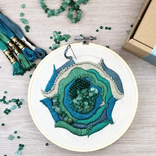 Semi Precious Stone Geode Natural Element DMC Embroidery Craft Kit Box Aventurine Healing Stones Blue Green Gemstone