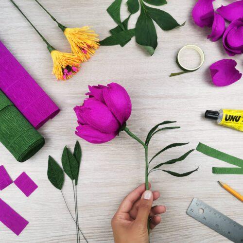 Cartotecnica Rossi Crepe paper Peony Craft Kit Box Summer Purple Fushia Italian